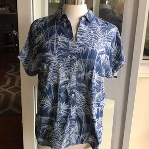 Tommy Bahama silk button down chambray w palm